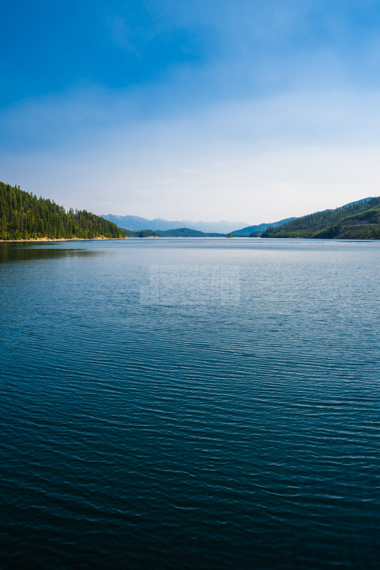 """View Across Hungry Horse Reservoir from the Dam"" stock image"