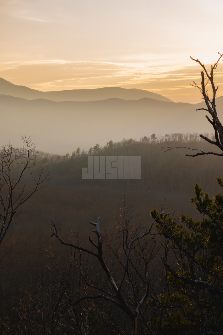 """foggy sunset over the great smoky mountains national park"" stock image"