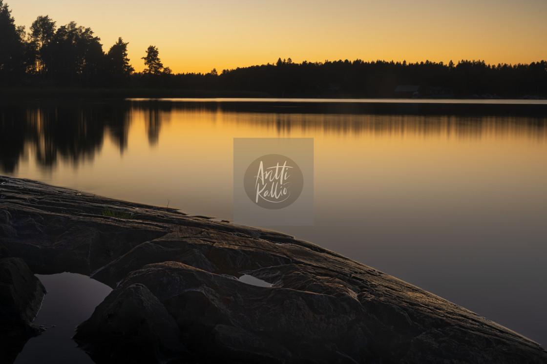 """""""Finnish summer sunset"""" stock image"""