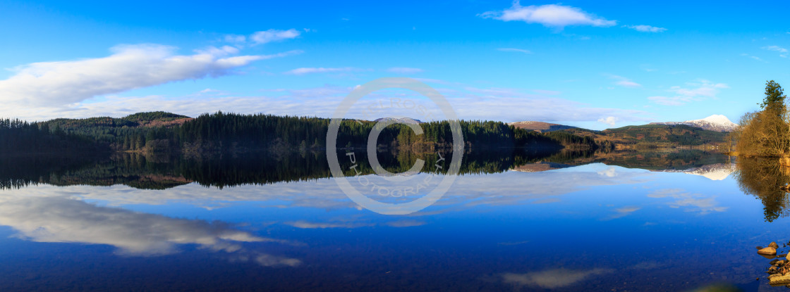 """Loch Ard Reflection Scotland"" stock image"