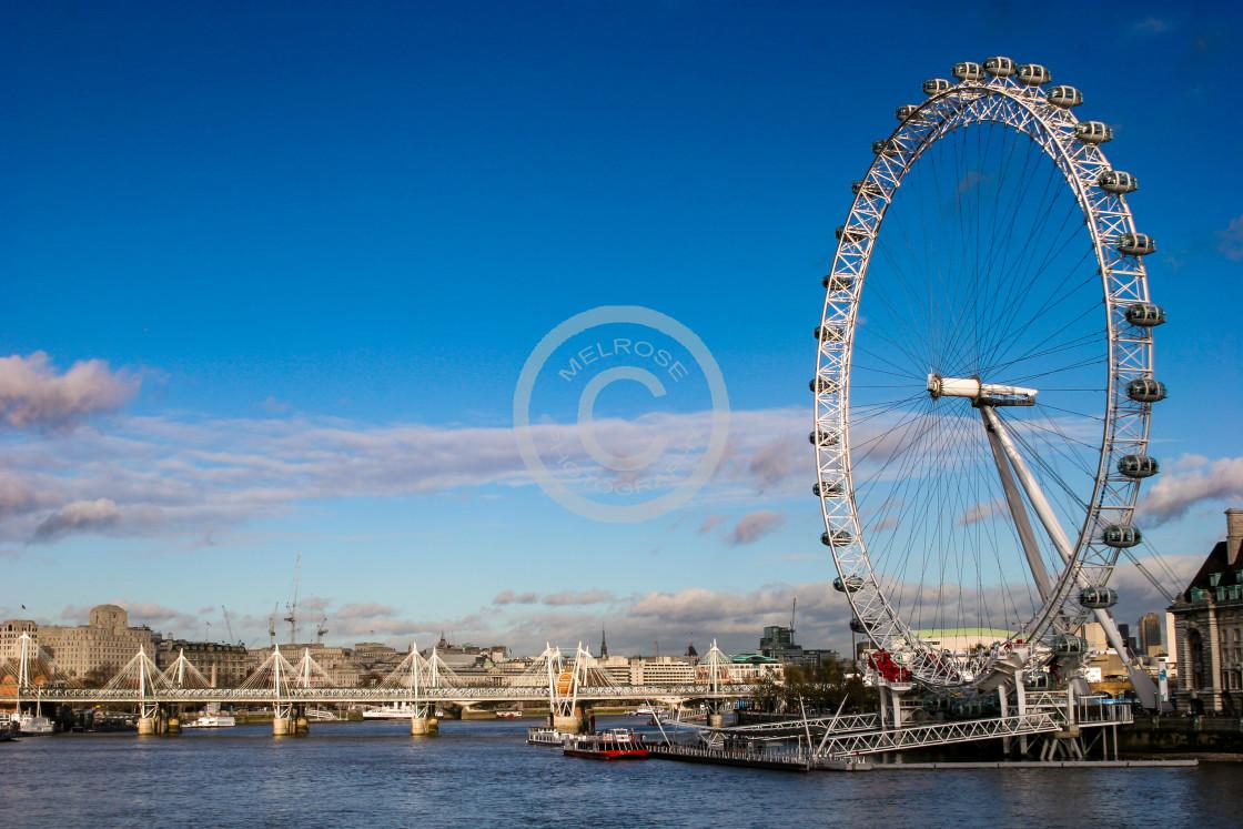 """Big Wheel across the Thames London"" stock image"