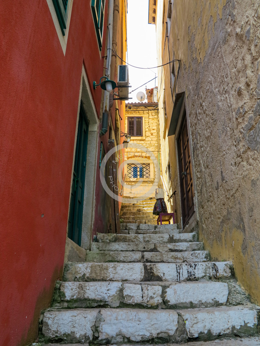 """""""Narrow Stair leading up to village street"""" stock image"""