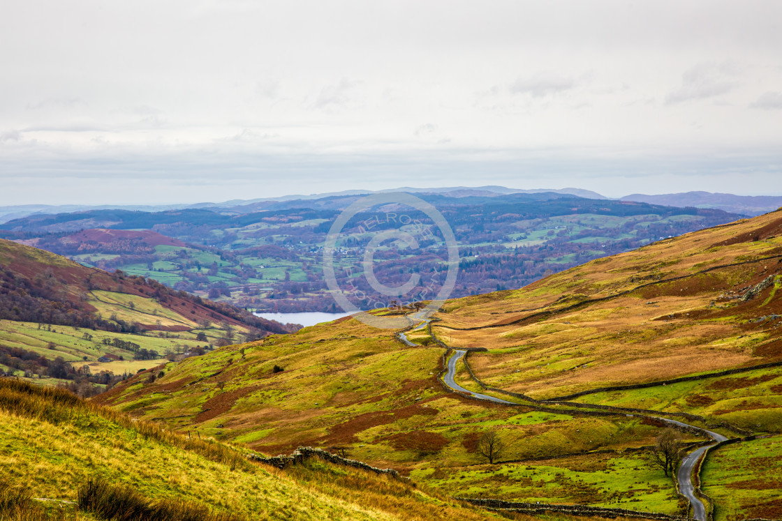 """Mountain view into the distance cumbria"" stock image"