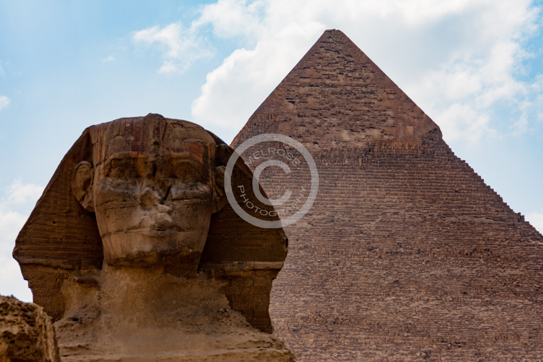 """Sphinx and Pyramids of Giza"" stock image"