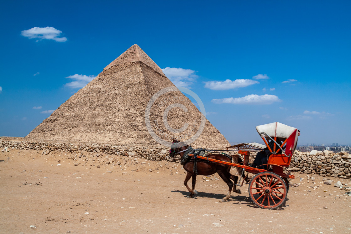 """Egypt Pyramid Horse and Carriage"" stock image"