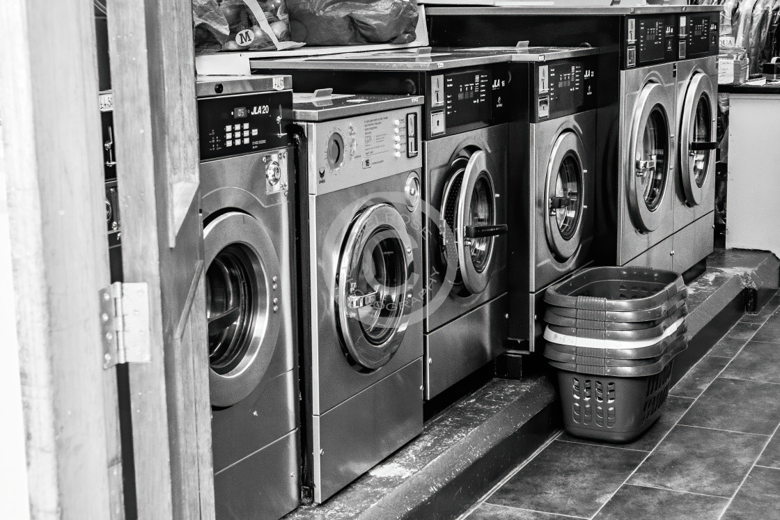 """In the laundrette"" stock image"