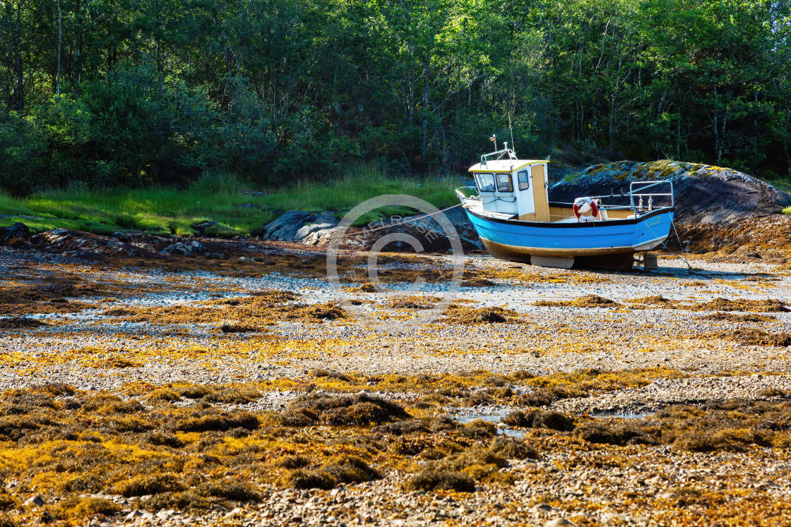 """Solitary Oban Fishing Boat"" stock image"