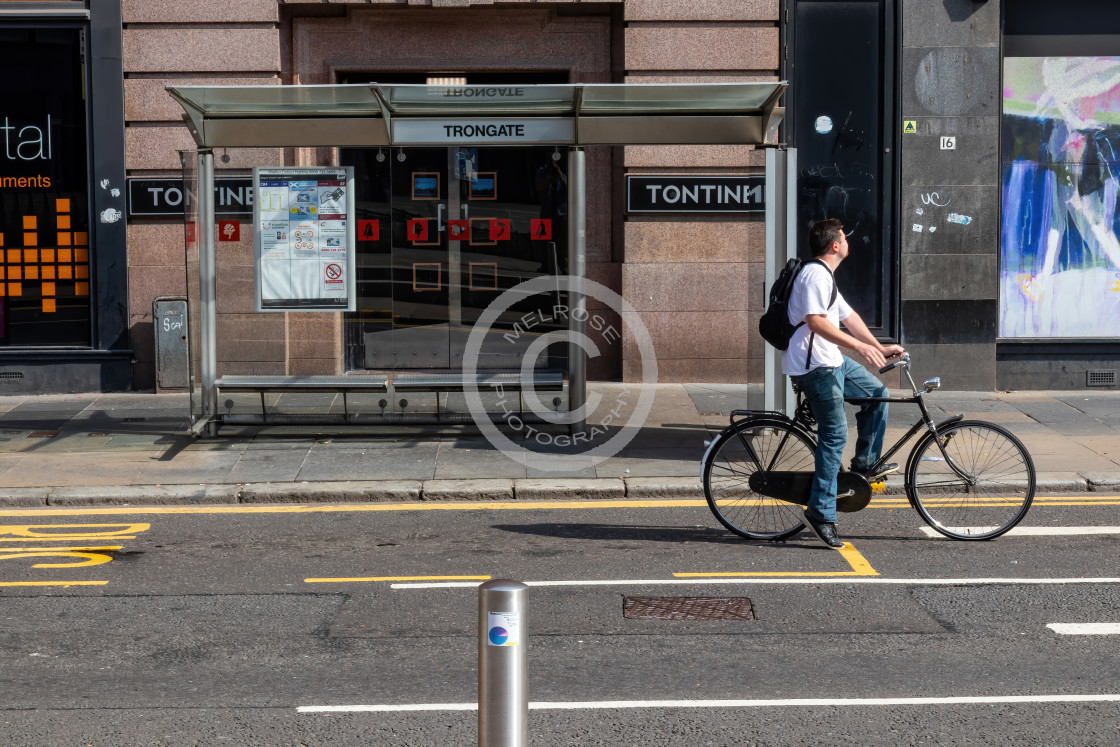 """""""Cycling throw the city"""" stock image"""