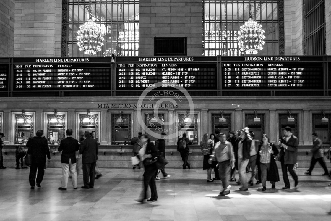 """""""Central Station with notice to Melrose"""" stock image"""