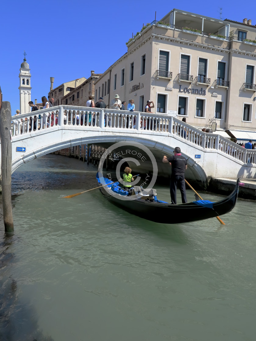 """""""The city of Venice with a bridge and Gondola"""" stock image"""