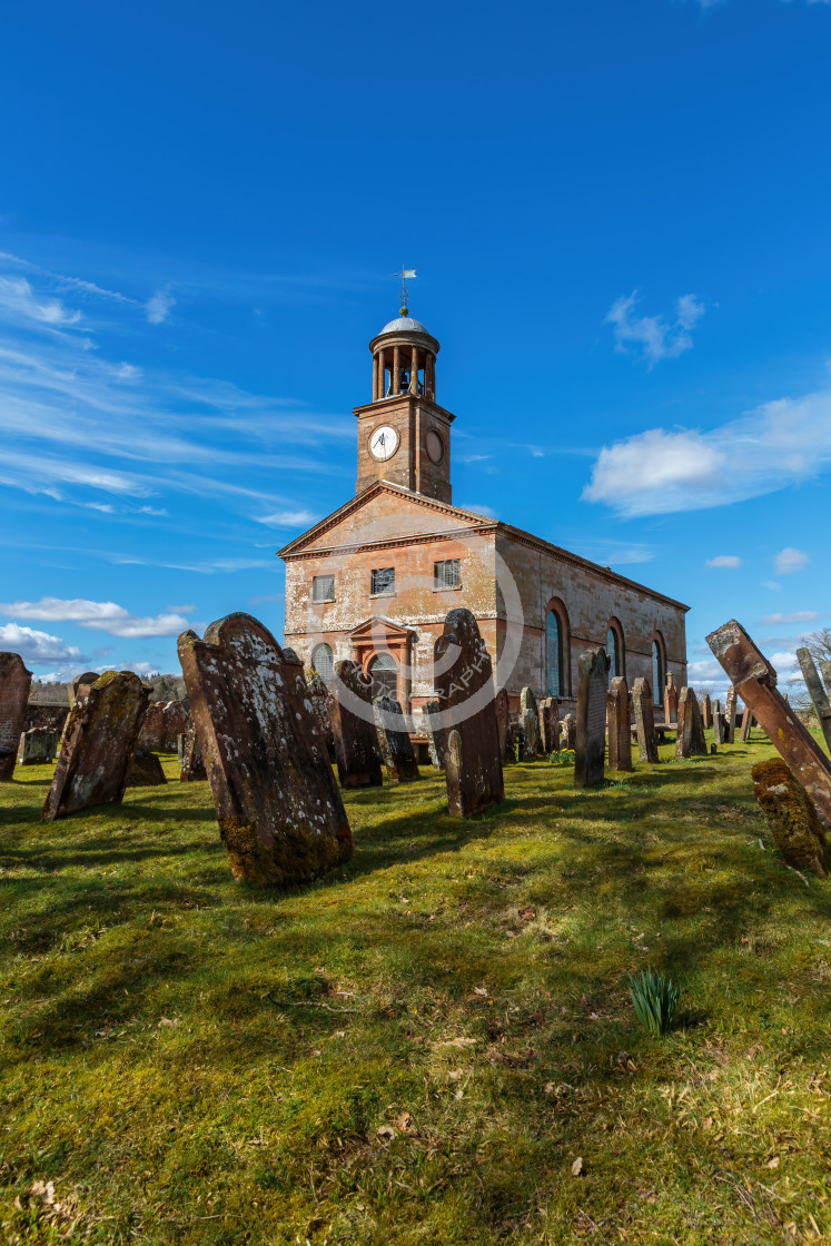 """""""Longtown Church and Graveyard at the Scottish Borders"""" stock image"""