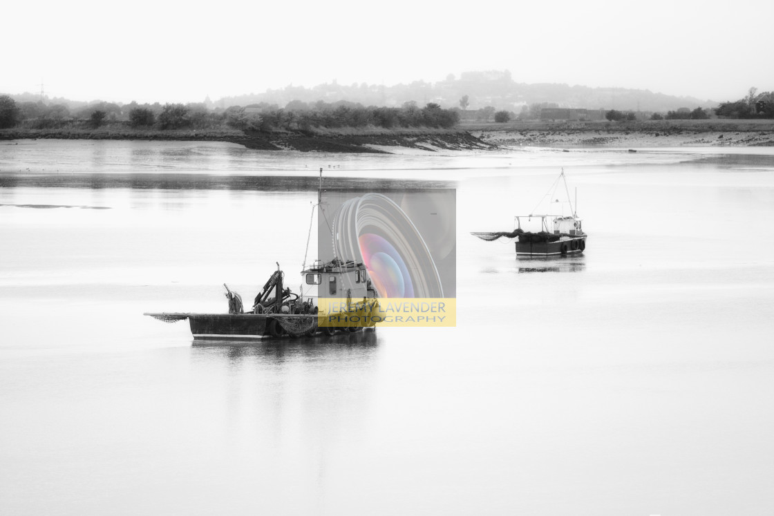 """Fishing boats on the river Forth"" stock image"