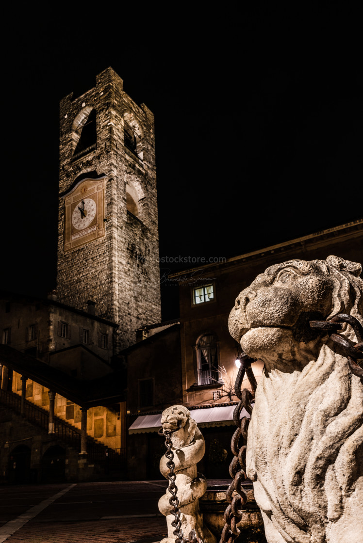 """close up of the lion of the Contarini fountain"" stock image"