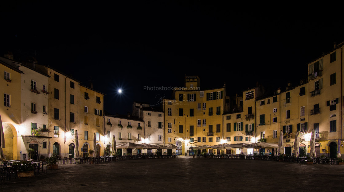 """Moon,light,square in Lucca (Italy) night landscape"" stock image"