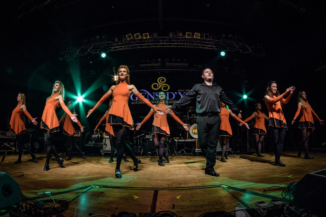 """Irish dancers performs at Live Music Club (MI) 16-03-2018"" stock image"