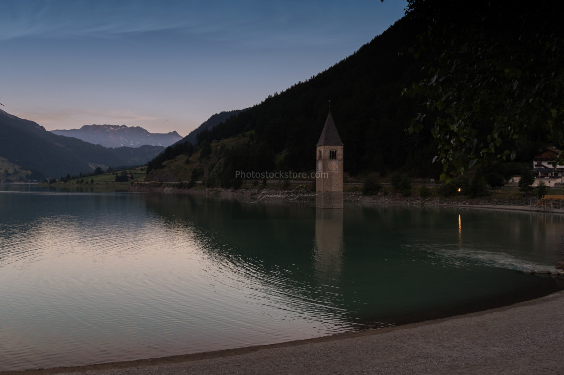 """Landscape of Lake Resia with the characteristic submerged bell tower"" stock image"