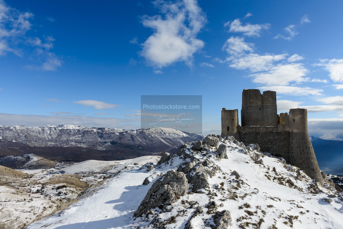 """Ancient fortress in the Abruzzesi mountains"" stock image"