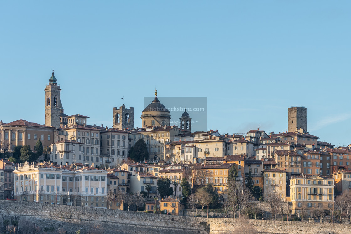 """General view of some historic buildings in Bergamo Alta"" stock image"