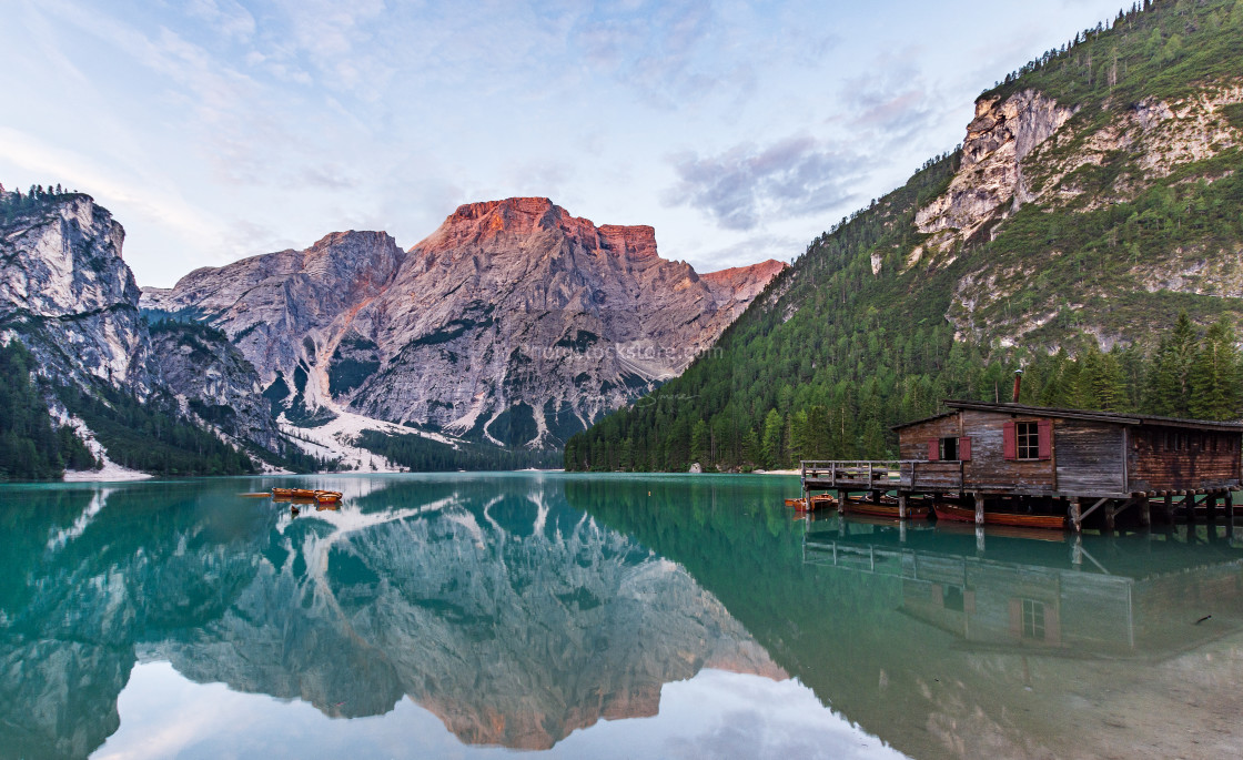 """Panorama of Lake Braies with the Dolomites"" stock image"