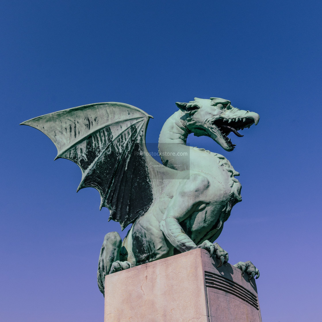 """The Dragon Bridge in Ljubljana"" stock image"