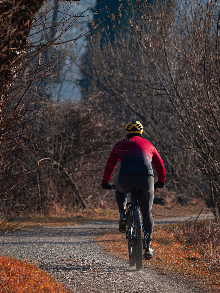 """Rear view of a cyclist riding his mountain bike on a path in nat"" stock image"