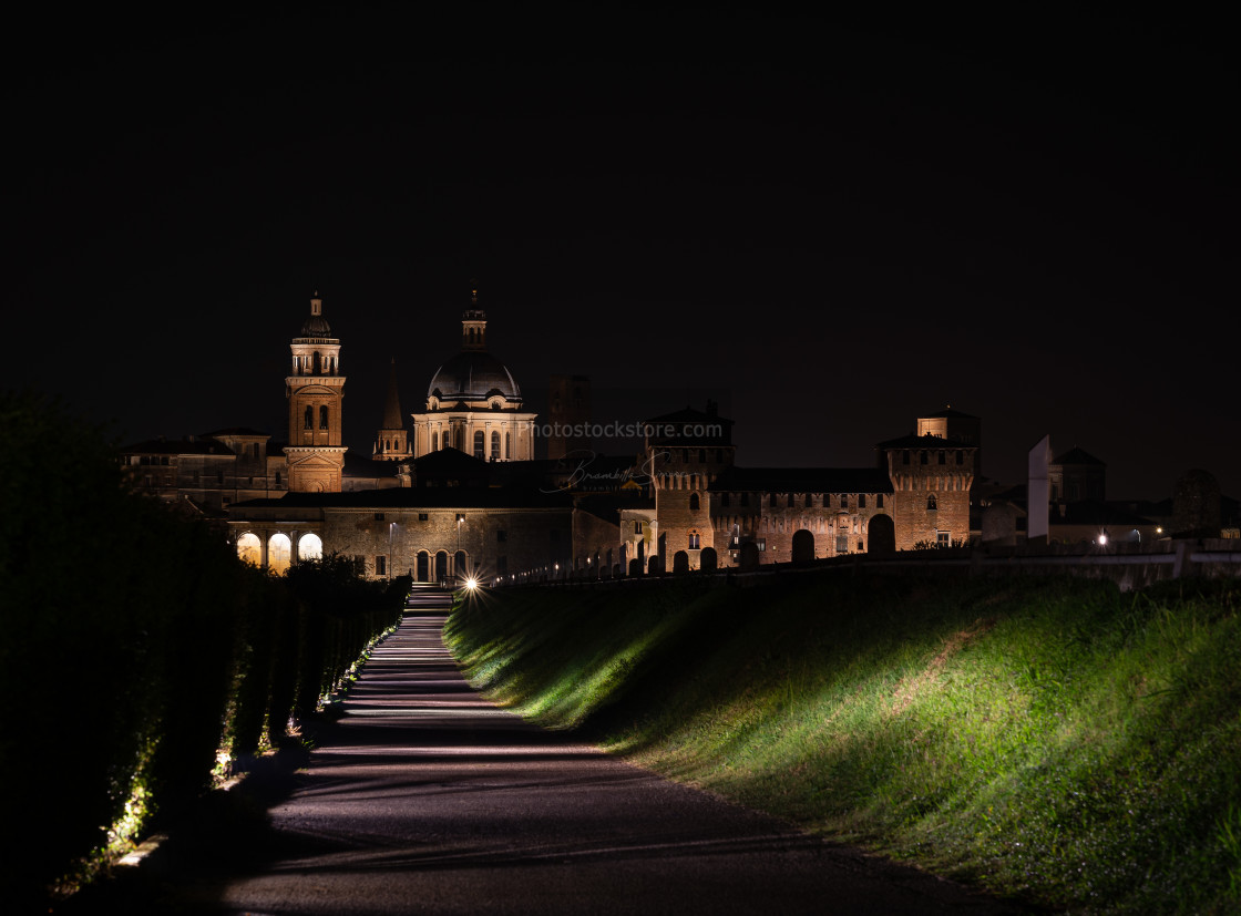 """Night walk towards the city of Mantua"" stock image"