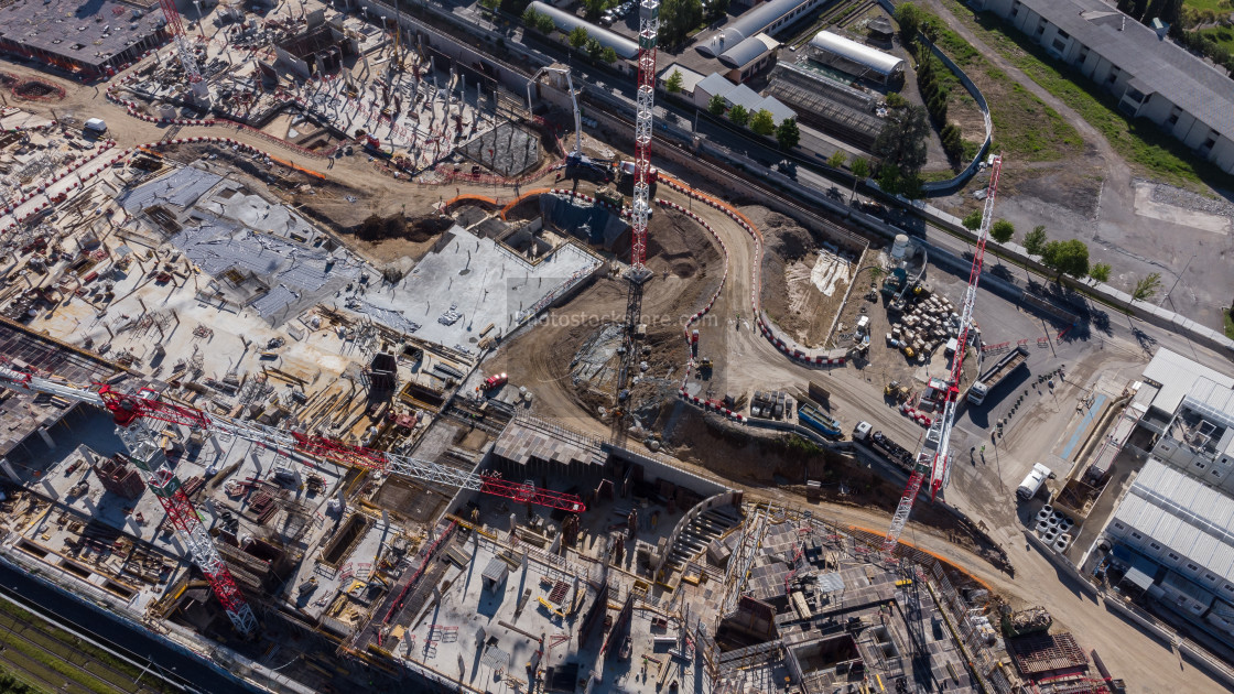 """""""Aerial image of a large city construction site"""" stock image"""