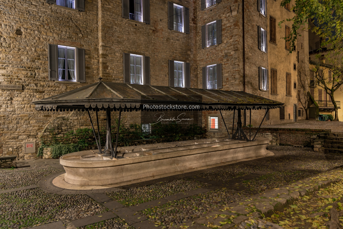 """""""Ancient public wash-house in via Lupo in Bergamo Alta"""" stock image"""
