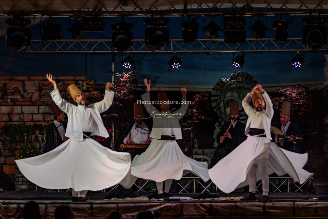 """The Turkish whirling dancers or Sufi whirling dancers at Spirito"" stock image"