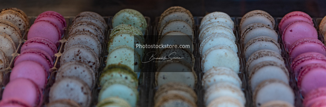 """Macarons displayed in a shop window of a pastry shop"" stock image"