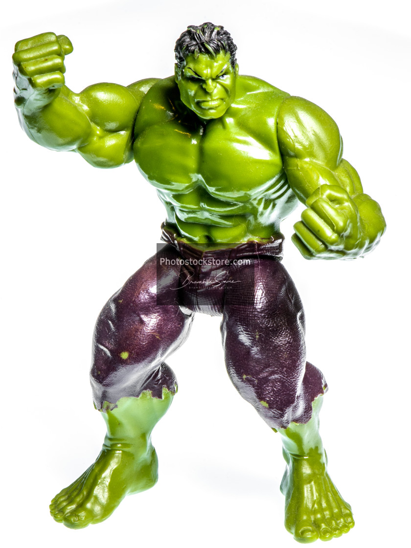 """Action figure of a muscular angry green man"" stock image"