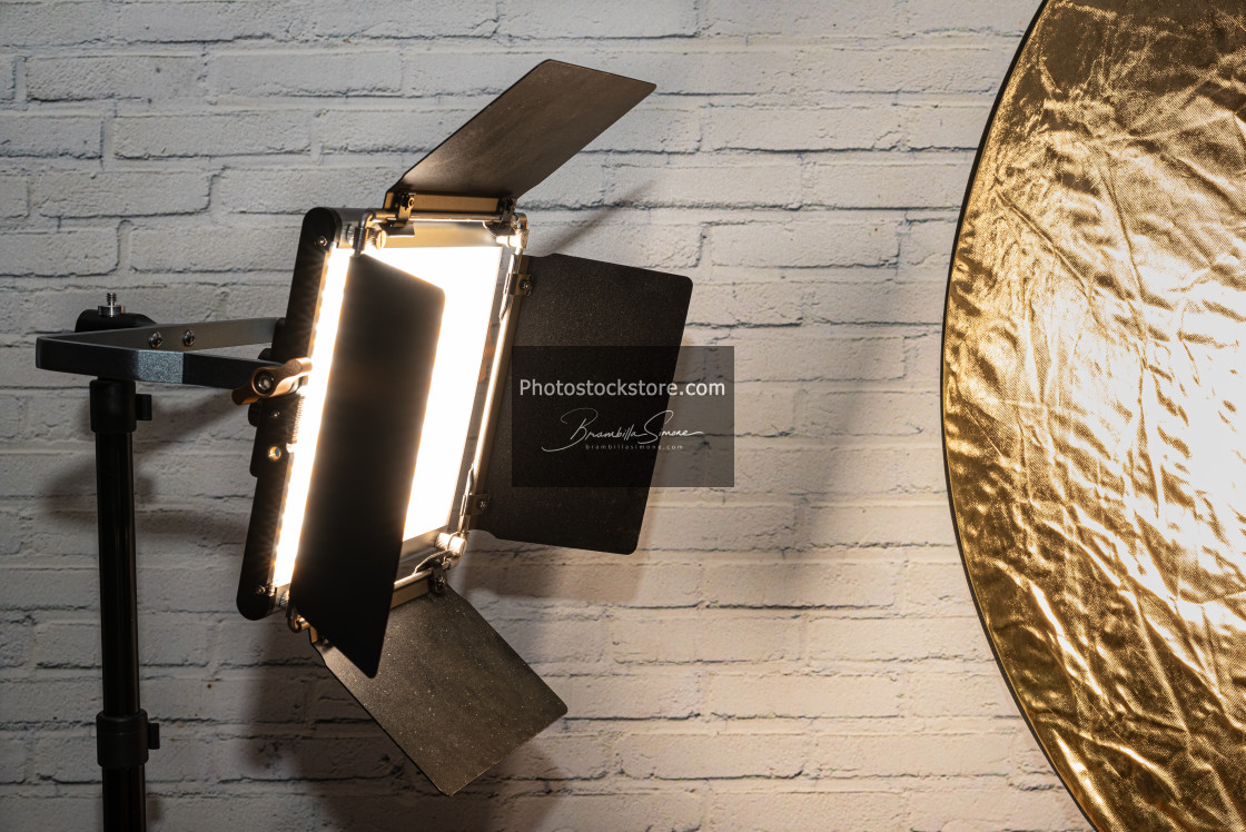 """""""Bright spotlight and gold reflector"""" stock image"""