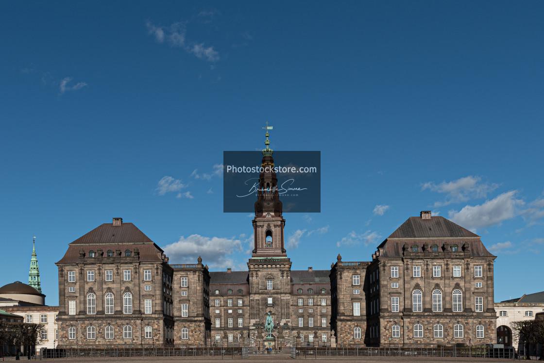 """Christiansborg Palace under a blue sky on a sunny day"" stock image"