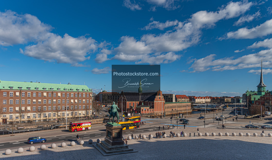 """""""View from Christiansborg Palace of the canal east of Copenhagen"""" stock image"""