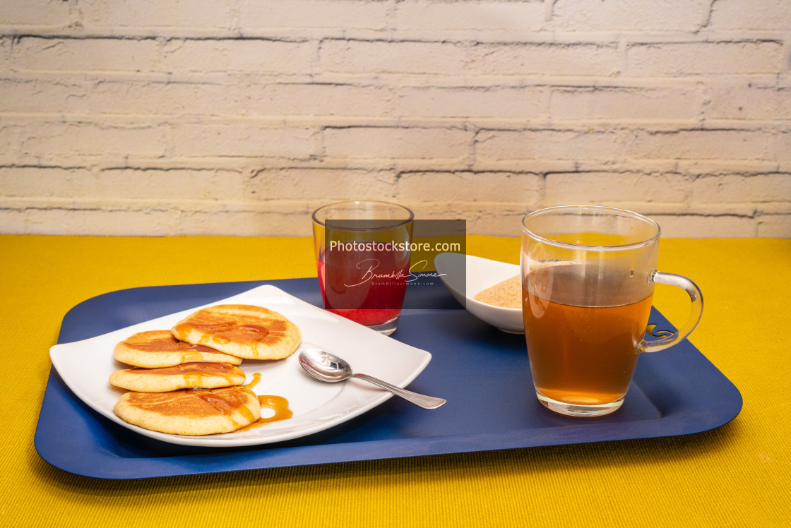 """Breakfast with maple syrup pancakes"" stock image"