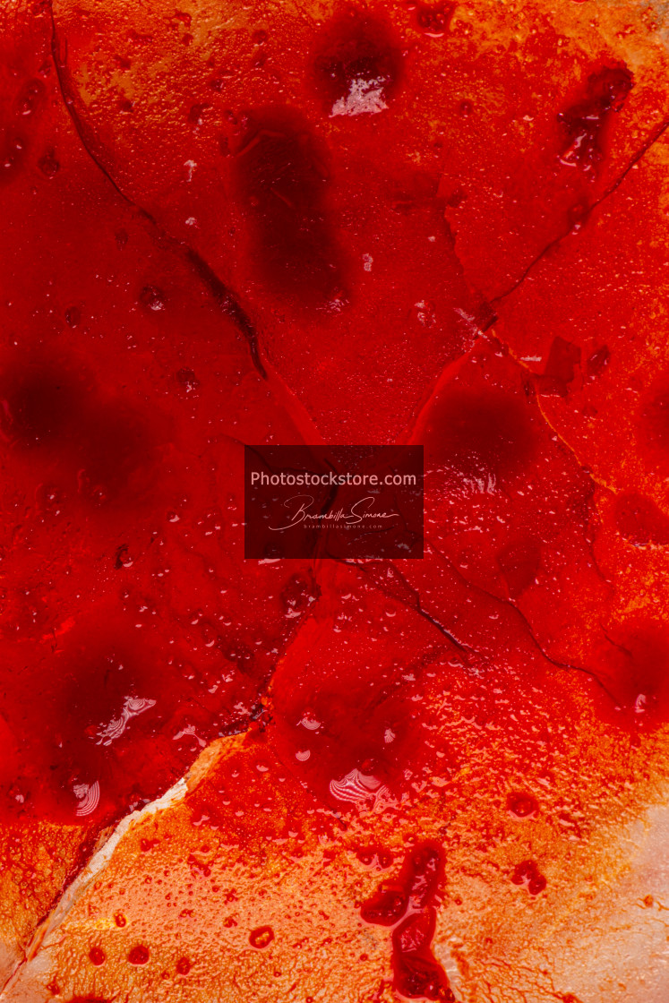 """""""Image of blood-colored liquids mixed with other organic fluids"""" stock image"""