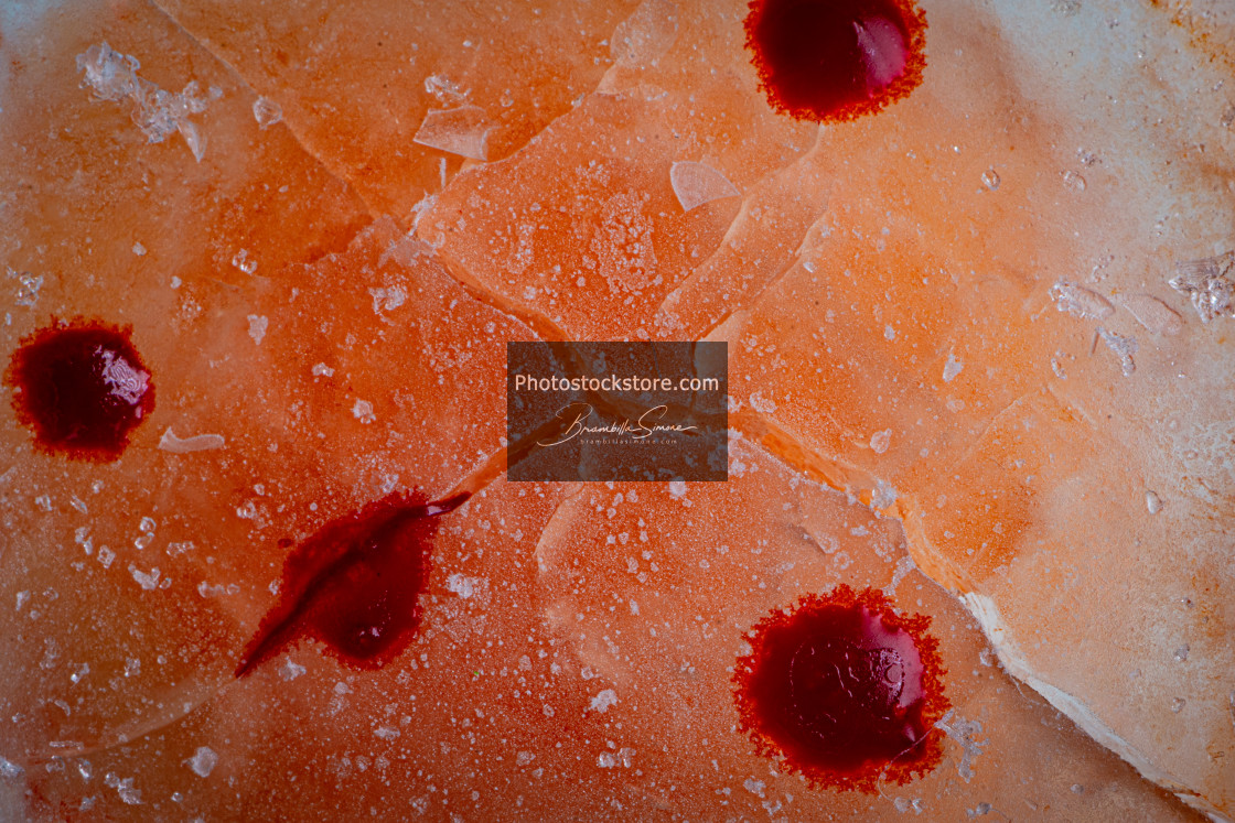 """Image of blood-colored liquids mixed with other organic fluids"" stock image"