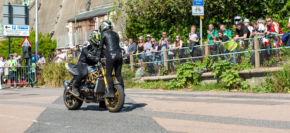 """Ace Cafe - Brighton Burn-up 2019"" stock image"