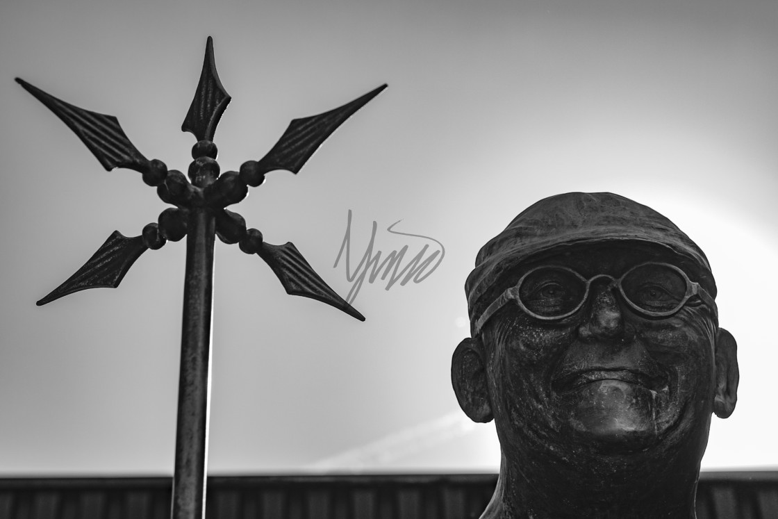 """Statue of Fred Dibnah in Bolton, Greater Manchester"" stock image"