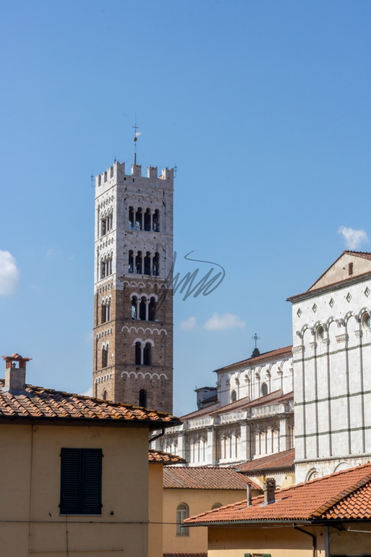 """Cityscape View of The City of Lucca In The Summer Sun - Toscana, Italy."" stock image"