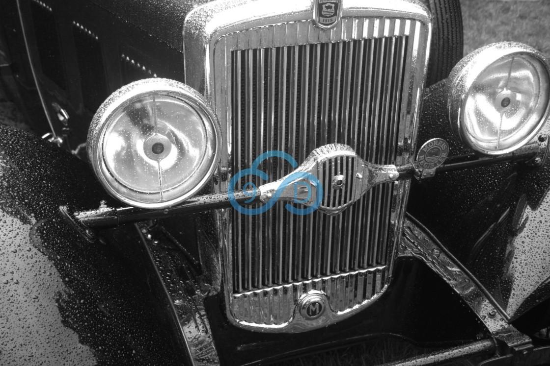 """Vintage Car Headlights & Radiator Grill"" stock image"