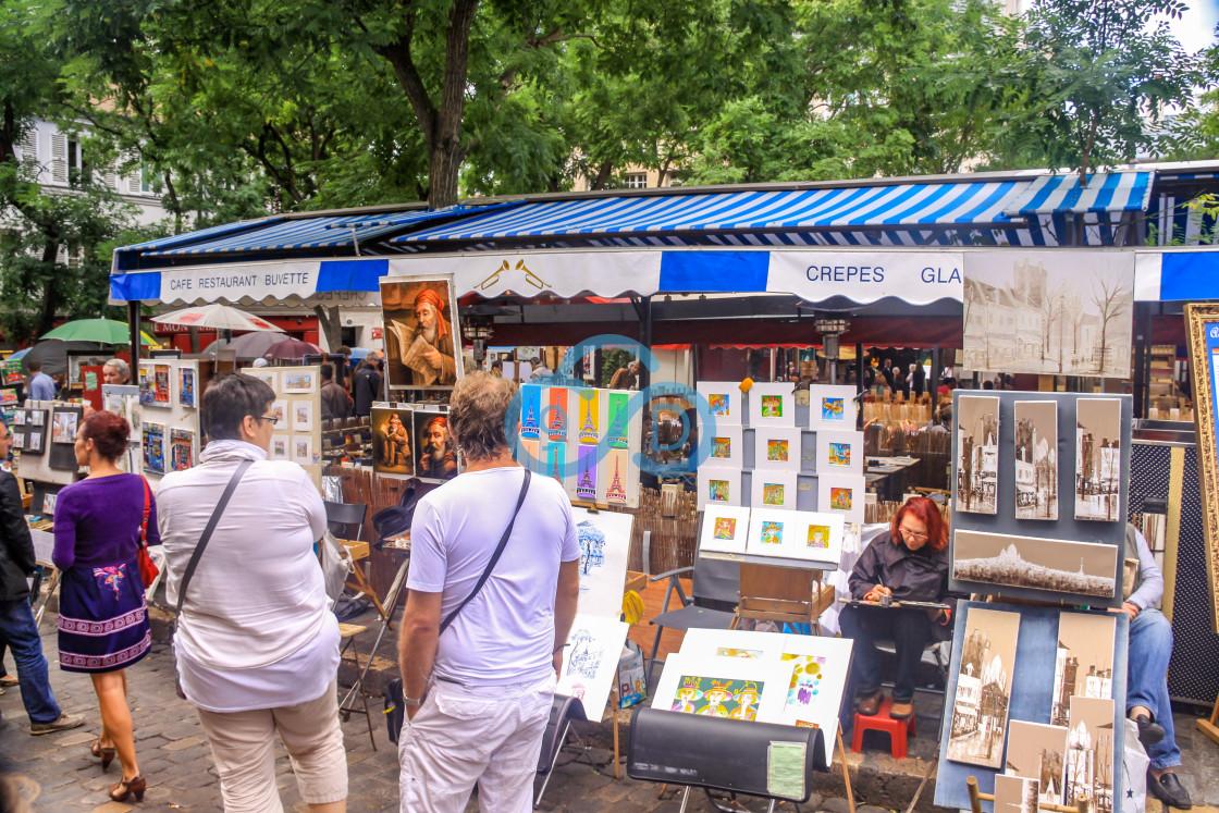 """Artists Stalls, Montmartre, Paris"" stock image"