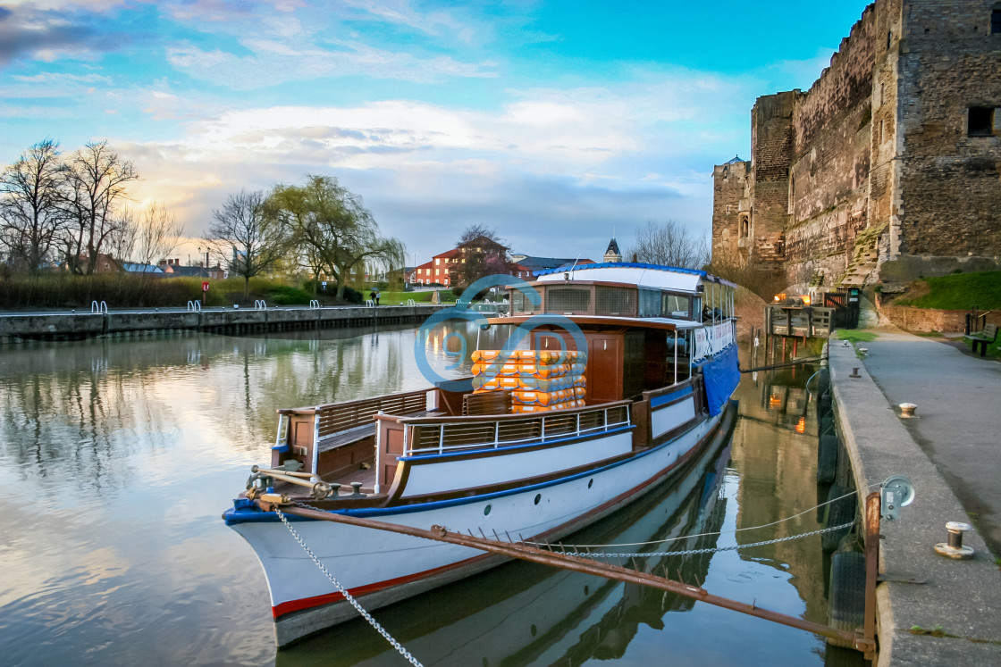 """""""Riverboat on the River Trent, Newark"""" stock image"""