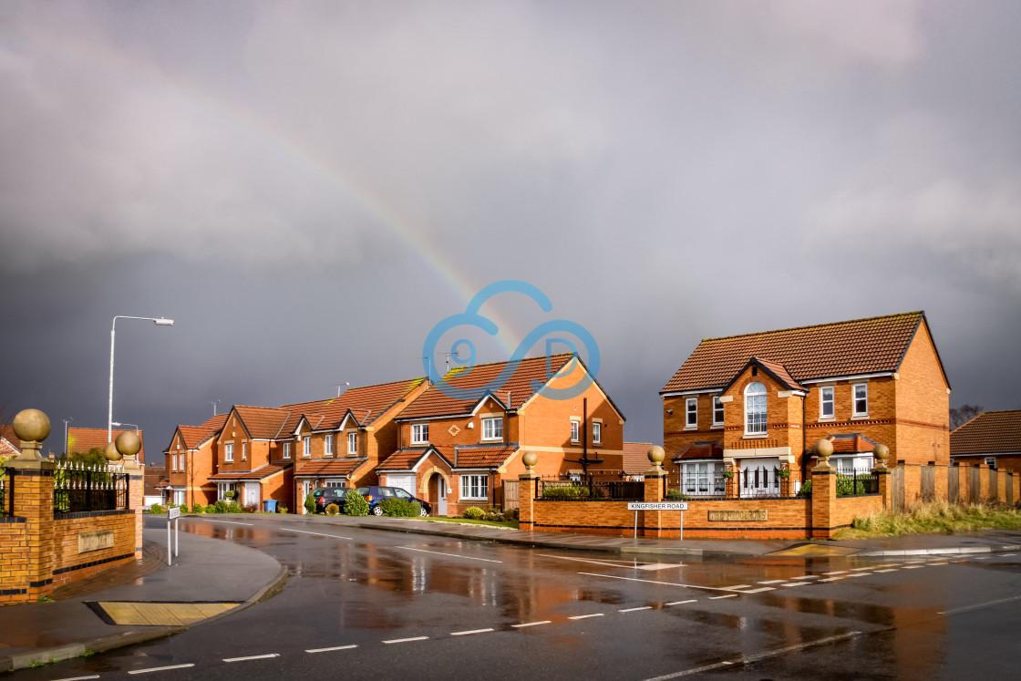 """Houses on Kingerfisher Lane, Mansfield"" stock image"