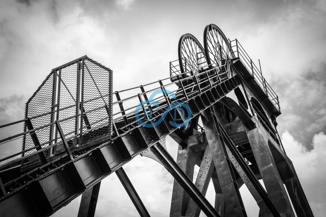 """Pleasley Colliery Winding Wheels"" stock image"