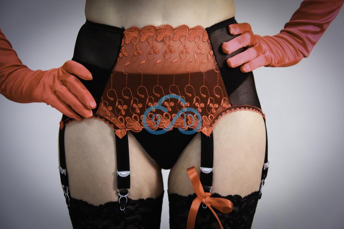 """""""Black and Red Suspender Belt Set"""" stock image"""