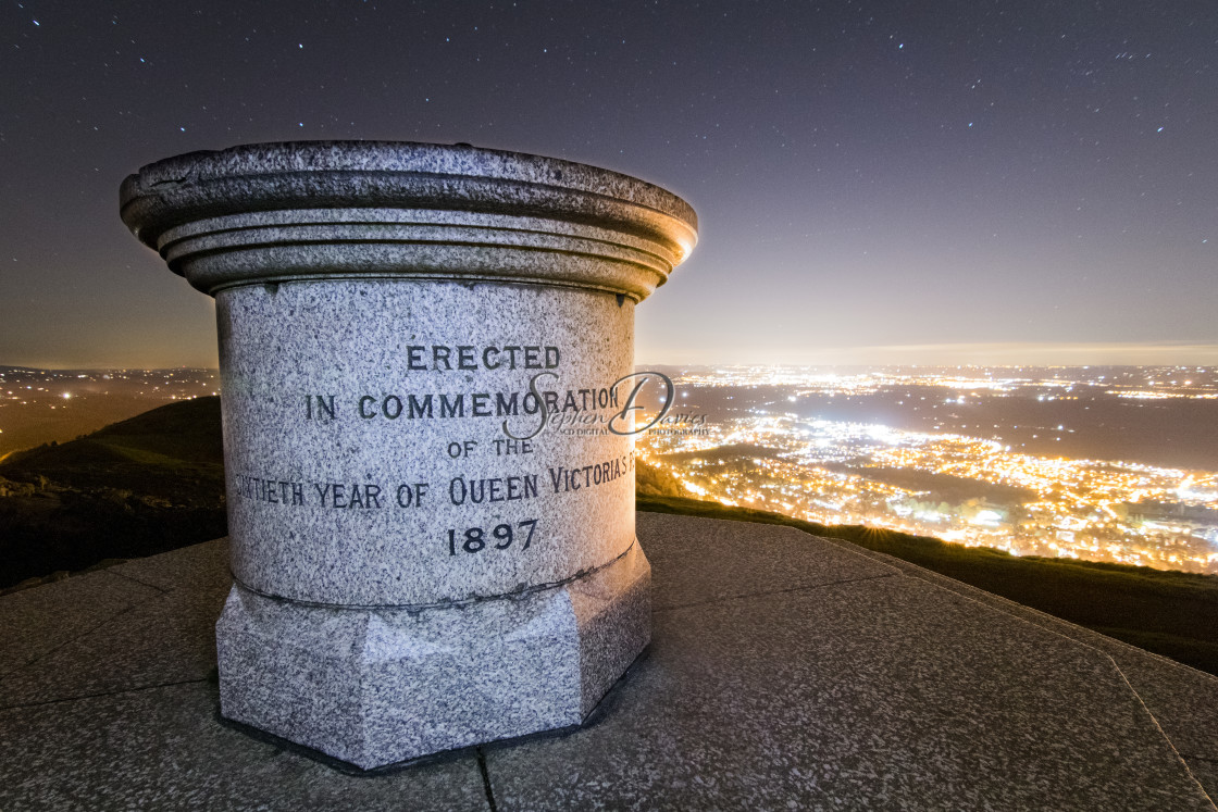 """""""Worcestershire Beacon under the stars"""" stock image"""