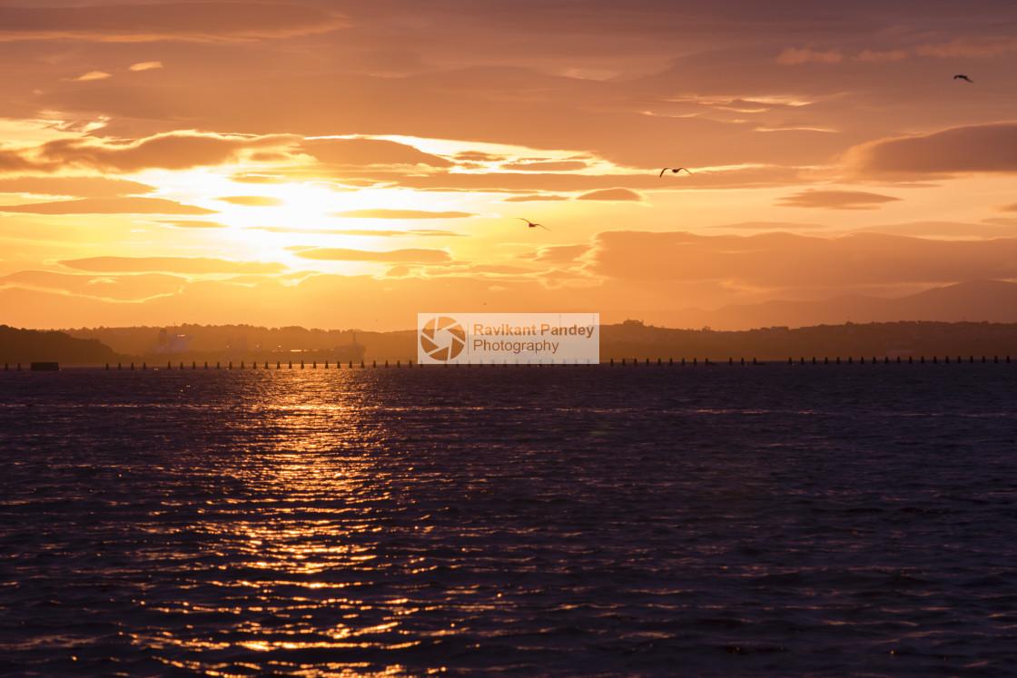 """""""Sunset View - Silverknowes, Edinburgh"""" stock image"""