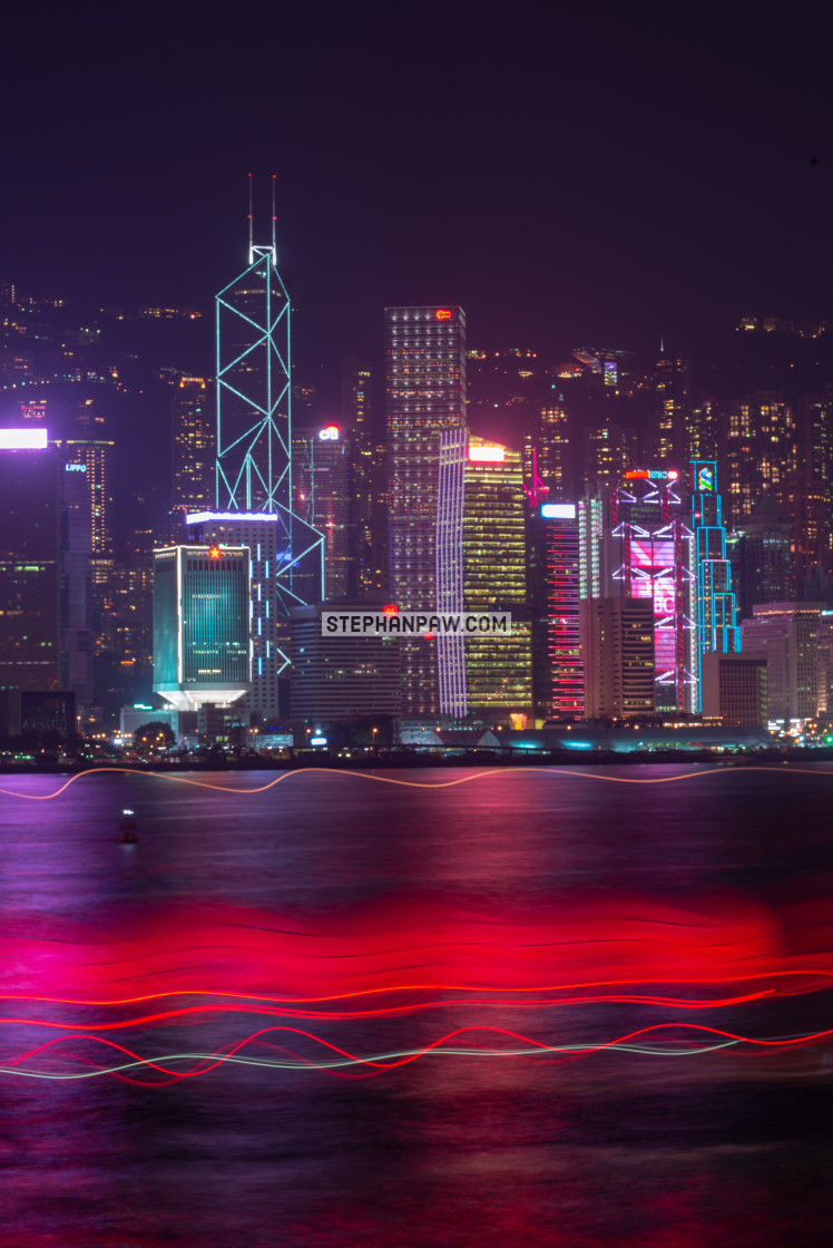 """Star ferry light trails on Victoria Harbour // Hong Kong, China"" stock image"