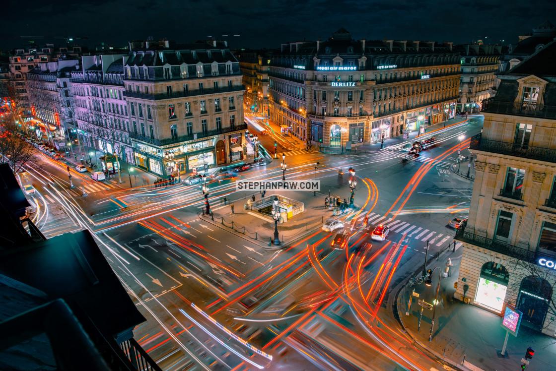"""Multiple light trail exposure of Place de l'Opera // Paris, Fran"" stock image"